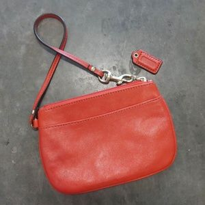 Coach Orange Leather Wristlet Wallet